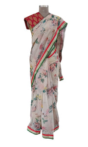 Organza Peach Floral Printed Border Embellished Saree SP22