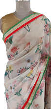 Load image into Gallery viewer, Organza Peach Floral Printed Border Embellished Saree SP22