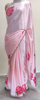 Designer Satin Crepe Digital Printed Pearl Lacer Saree SP23