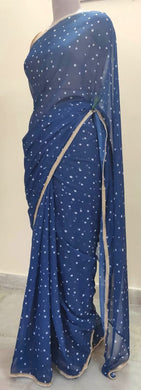 Designer Georgette Blue Polka Dot Printed Pearl Lacer Saree SP24