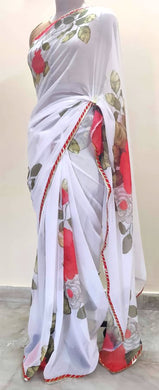 Designer White Floral Printed Georgette Saree with Gotta Lacer SP27