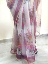 Load image into Gallery viewer, Designer Organza Onion Pink Printed Pearl Lacer Saree SP30