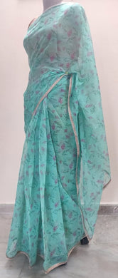 Designer Organza Turquoise Green Printed Pearl Lacer Saree SP31