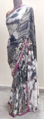 Designer Digital Printed Pure Crepe Buddha Motif Saree SP33