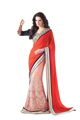Red Peach Net Georgette Embroidered Lehenga Saree SC4105 - Ethnic's By Anvi Creations