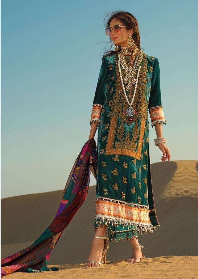 Designer Pakistani Replica Sana Safinaz Turquoise Green Jam Cotton Embroidered Dress Material SSD281