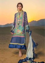 Load image into Gallery viewer, Designer Pakistani Replica Sana Safinaz Green Blue Jam Cotton Embroidered Dress Material SSD286