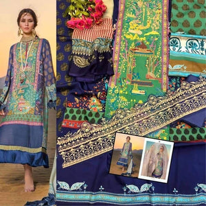 Designer Pakistani Replica Sana Safinaz Green Blue Jam Cotton Embroidered Dress Material SSD286
