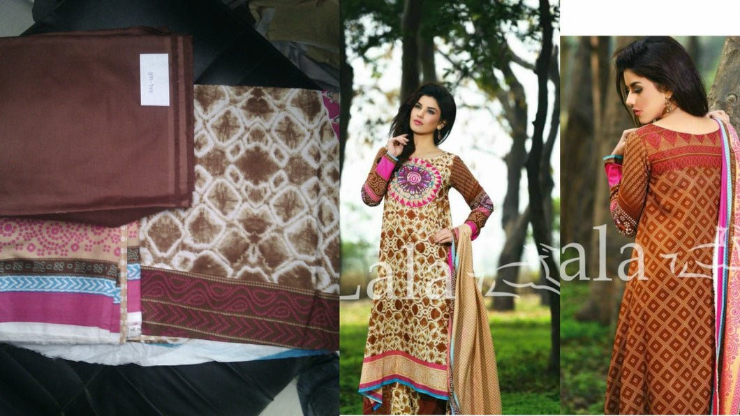 Designer Original Pakistani Sana Samia Brown Lawn Cotton Dress material SSL10A - Ethnic's By Anvi Creations