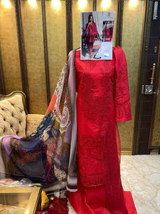 Designer Pakistani Replica Sana Safina Red Cotton Embroidered Dress Material SSS9001