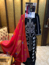 Load image into Gallery viewer, Designer Pakistani Replica Sana Safina Black Cotton Embroidered Dress Material SSS9002