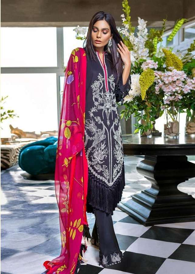 Designer Pakistani Replica Sana Safina Black Cotton Embroidered Dress Material SSS9002