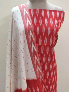 Pochampally Single Ikkat Red Cotton Dress Material SVIK01