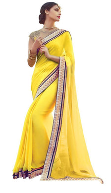 Designer Yellow Satin Chiffon Exclusive Blouse Fabric Saree SC10604 - Ethnic's By Anvi Creations