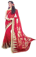 Designer Red Georgette Exclusive Blouse Fabric Saree SC10606