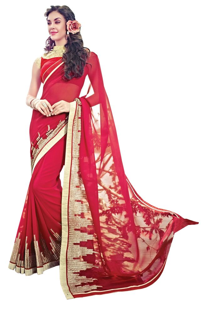 Designer Red Georgette Exclusive Blouse Fabric Saree SC10606 - Ethnic's By Anvi Creations