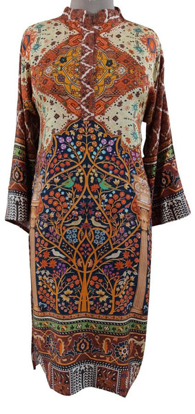 Semi Stitched Orange Digital Printed Faux Pashmina Kurti 02