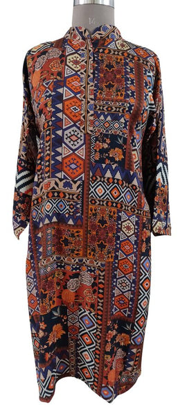 Semi Stitched Orange Digital Printed Faux Pashmina Kurti 03