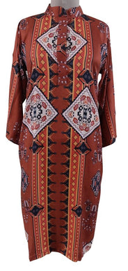 Semi Stitched Orange Digital Printed Faux Pashmina Kurti 04