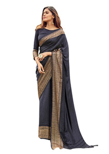 Designer Black Printed Border Sana Silk Saree S01 - Ethnic's By Anvi Creations