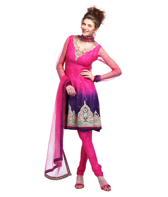 Magenta Purple Net Salwar Kameez Churidar Dress Material SCA2007A