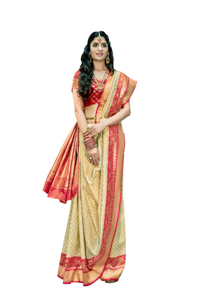 Designer Off White Red Border Silk Weaving Saree S60