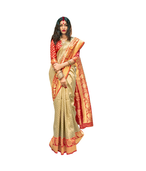 Designer Off White Red Border Silk Weaving Saree S61