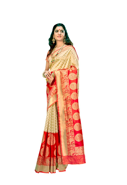 Designer Off White Red Border Silk Weaving Saree S62