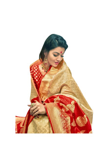 Designer Off White Red Border Silk Weaving Saree S64 - Ethnic's By Anvi Creations