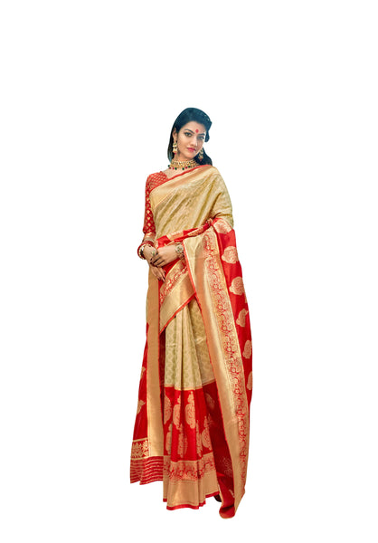 Designer Off White Red Border Silk Weaving Saree S64