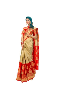 Designer Off White Red Border Silk Weaving Saree S65 - Ethnic's By Anvi Creations