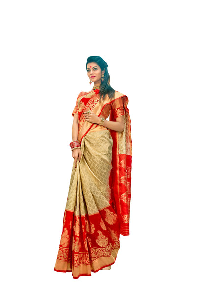 Designer Off White Red Border Silk Weaving Saree S65