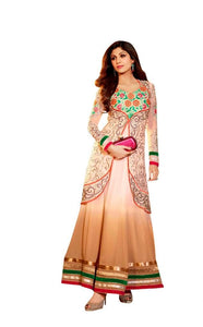 Shilpa Shetty Exclusive Cream Peach Anarkali SC6004 - Ethnic's By Anvi Creations