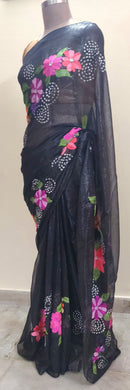 Designer Embroidered Black Shimmer Chiffon Saree SH01