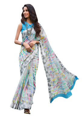 Designer Blue Linen Printed Saree SH82 - Ethnic's By Anvi Creations