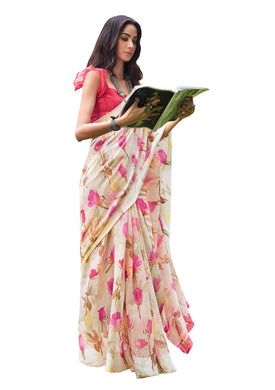 Designer Off White Linen Printed Saree SH85 - Ethnic's By Anvi Creations
