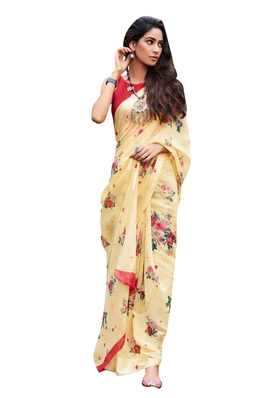 Designer Yellow Linen Printed Saree SH88 - Ethnic's By Anvi Creations