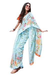 Designer Blue Linen Printed Saree SH89 - Ethnic's By Anvi Creations