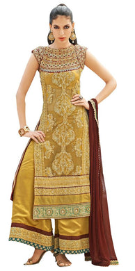 Heavy Wedding Georgette Crepe Golden Beige Dress Material Soho11 - Ethnic's By Anvi Creations