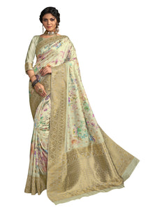 Light Green Digital Printed Banarsi Silk Weaven Saree T13 - Ethnic's By Anvi Creations