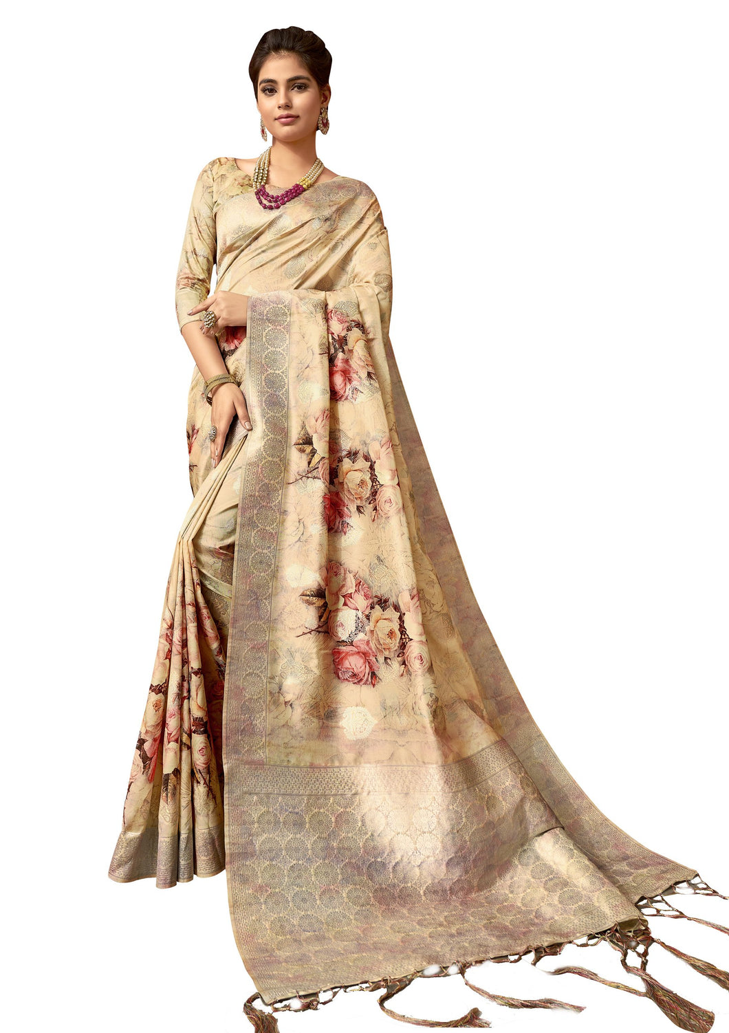 Beige Digital Printed Banarsi Silk Weaven Saree T34 - Ethnic's By Anvi Creations