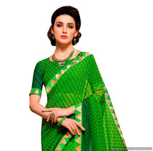 Load image into Gallery viewer, Green Lacer Printed Georgette Saree Toran3275