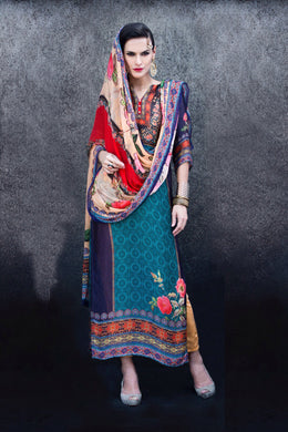 Designer Digital Printed Twill Cotton Kurta Dupatta Fabric Set V603
