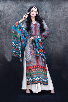 Designer Digital Printed Twill Cotton Kurta Dupatta Fabric Set V606