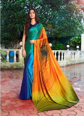 Designer Peacock Feather Turquoise Blue Printed Crepe Saree VAR02