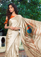 Load image into Gallery viewer, Designer Peacock Feather Off White Cream Printed Crepe Saree VAR07