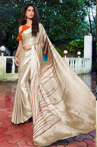 Designer Peacock Feather Off White Cream Printed Crepe Saree VAR07