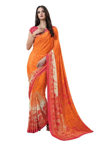 <transcy>Saree Crêpe Imprimé Floral Orange VAS7008B</transcy>
