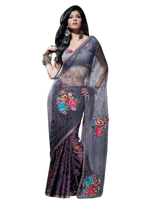 Designer Grey net and crepe Embroidered saree SC408 - Ethnic's By Anvi Creations