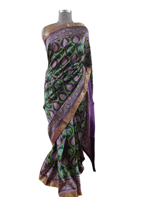 Green Dupion Silk Saree with Blouse Fabric VAS01 - Ethnic's By Anvi Creations